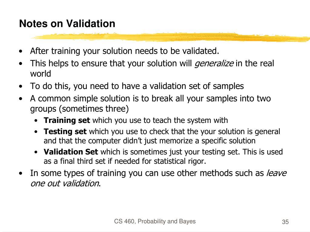 Notes on Validation