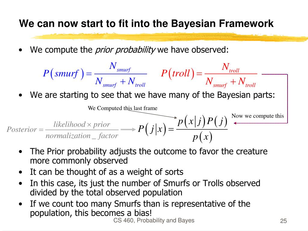 We can now start to fit into the Bayesian Framework
