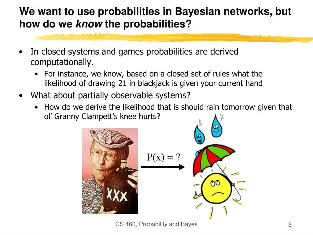 We want to use probabilities in Bayesian networks, but how do we