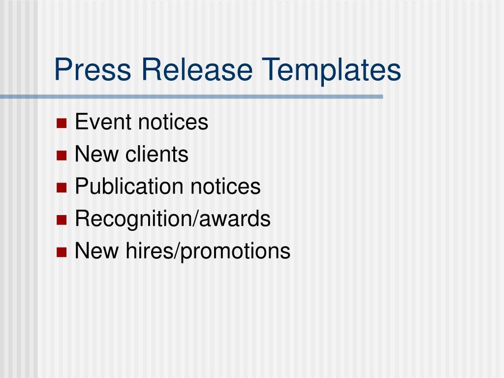 Press Release Templates