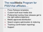 the read media program for pss vital affiliates