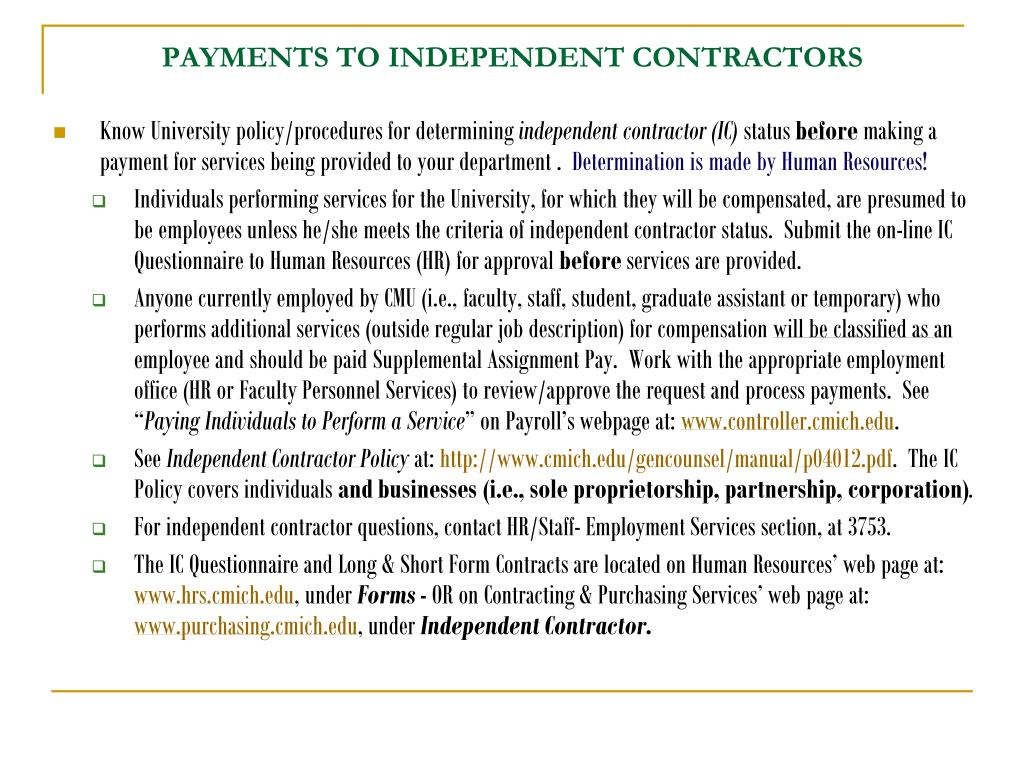 PAYMENTS TO INDEPENDENT CONTRACTORS
