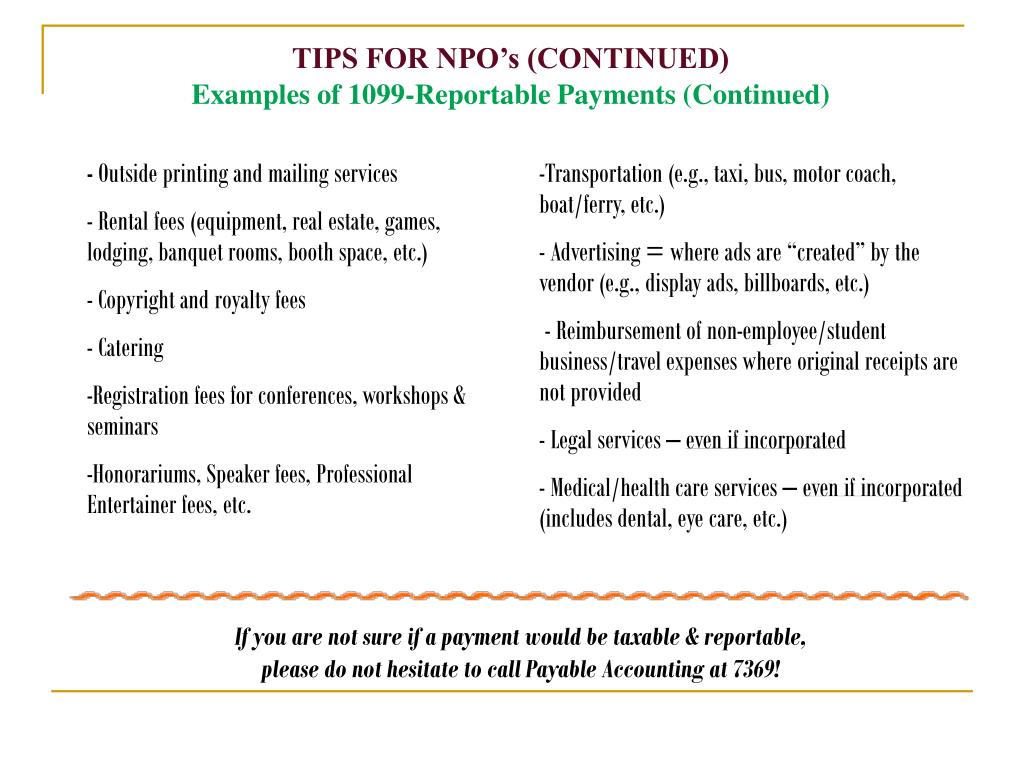TIPS FOR NPO's (CONTINUED)