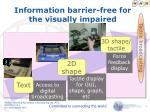 information barrier free for the visually impaired