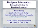 beespace informatics interactive system for functional analysis
