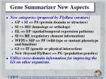 gene summarizer new aspects