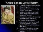 anglo saxon lyric poetry