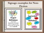 signage examples for non fiction
