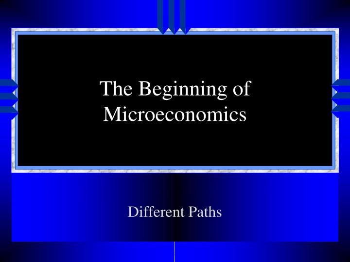 The beginning of microeconomics