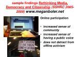 sample findings rethinking media democracy and citizenship sshrc 2005 2008 www meganboler net