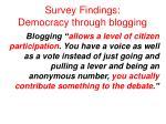 survey findings democracy through blogging