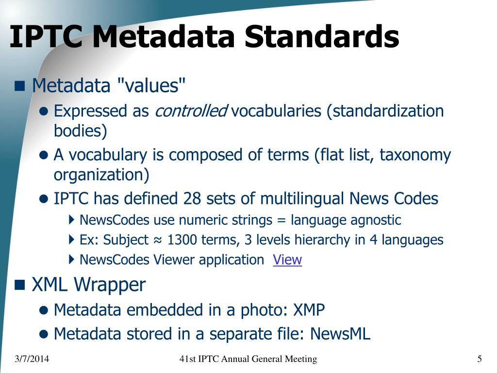 IPTC Metadata Standards
