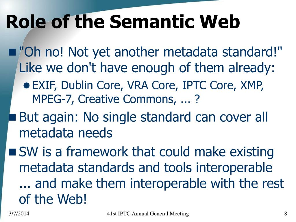 Role of the Semantic Web