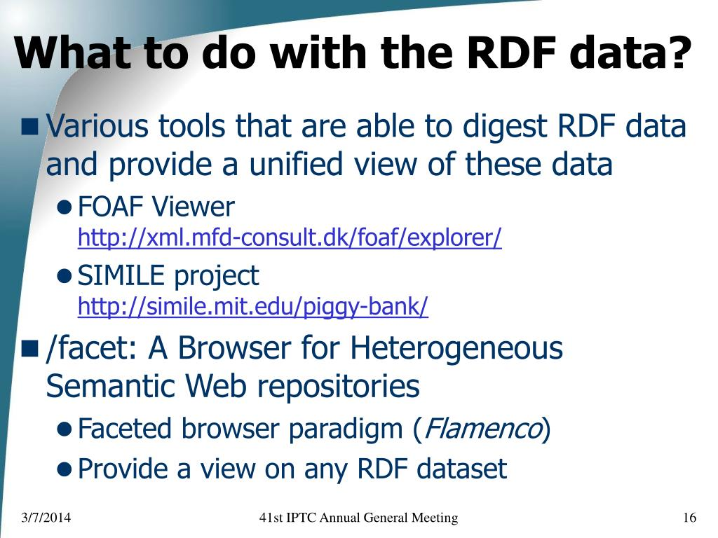 What to do with the RDF data?