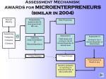 assessment mechanism awards for microenterpreneurs similar in 2004