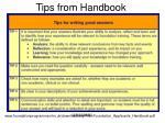 tips from handbook