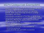 sepa categorical exemptions