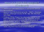 when is a sepa eis adequate continued