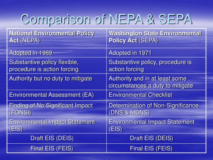Comparison of nepa sepa