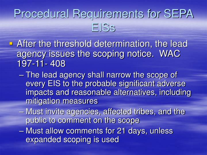 Procedural Requirements for SEPA EISs
