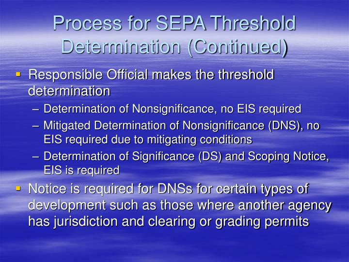 Process for SEPA Threshold Determination (Continued)