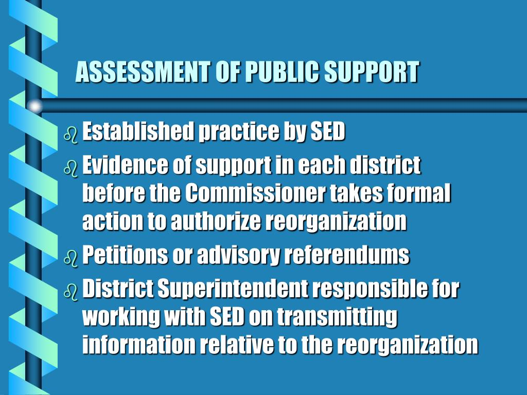 ASSESSMENT OF PUBLIC SUPPORT