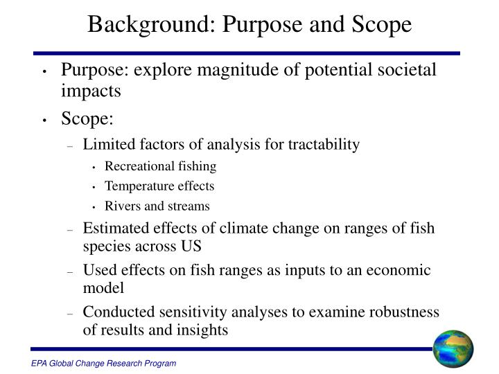 Background purpose and scope