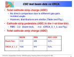 csc test beam data vs orca