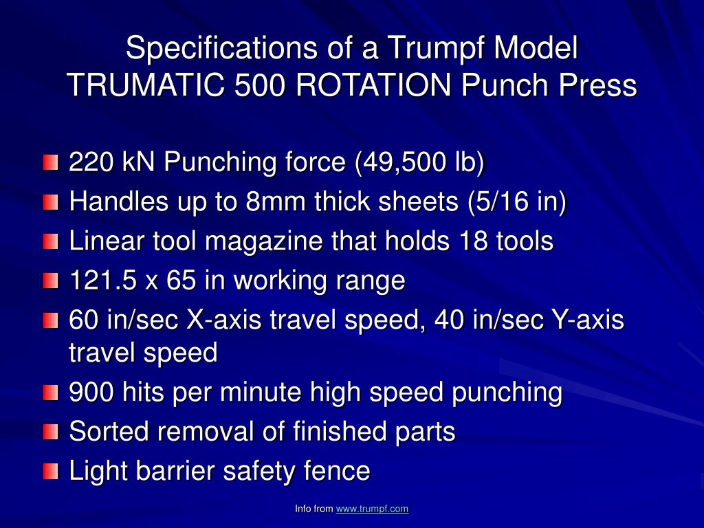 Specifications of a Trumpf Model TRUMATIC 500 ROTATION Punch Press