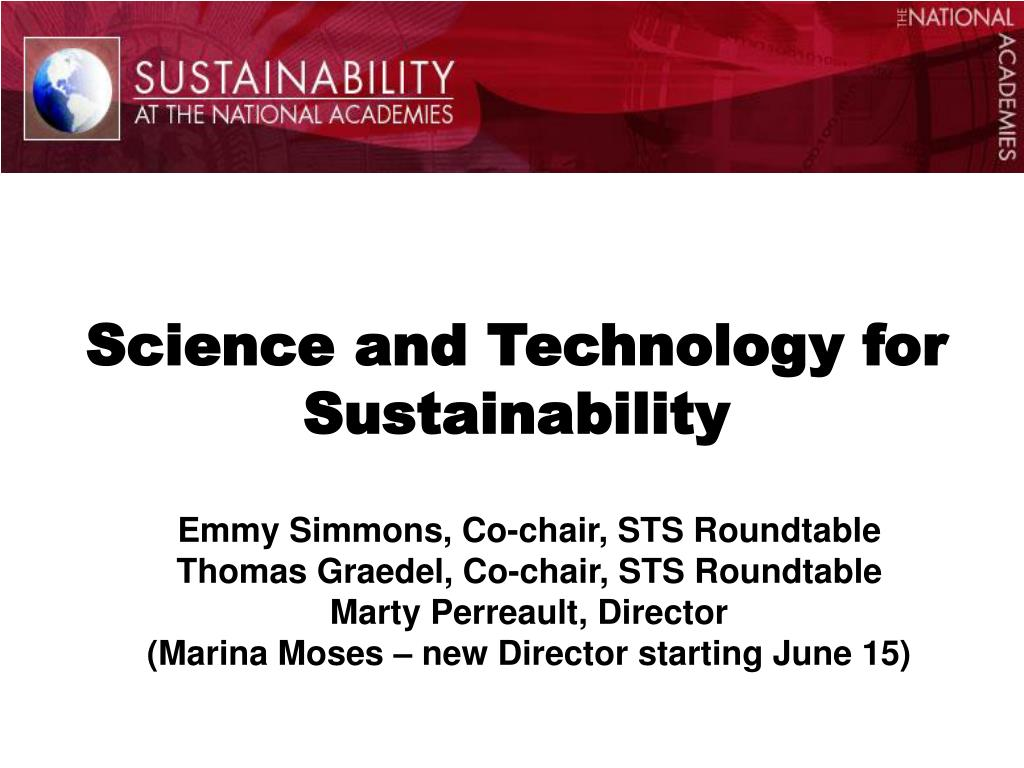 science and technology for sustainability l.