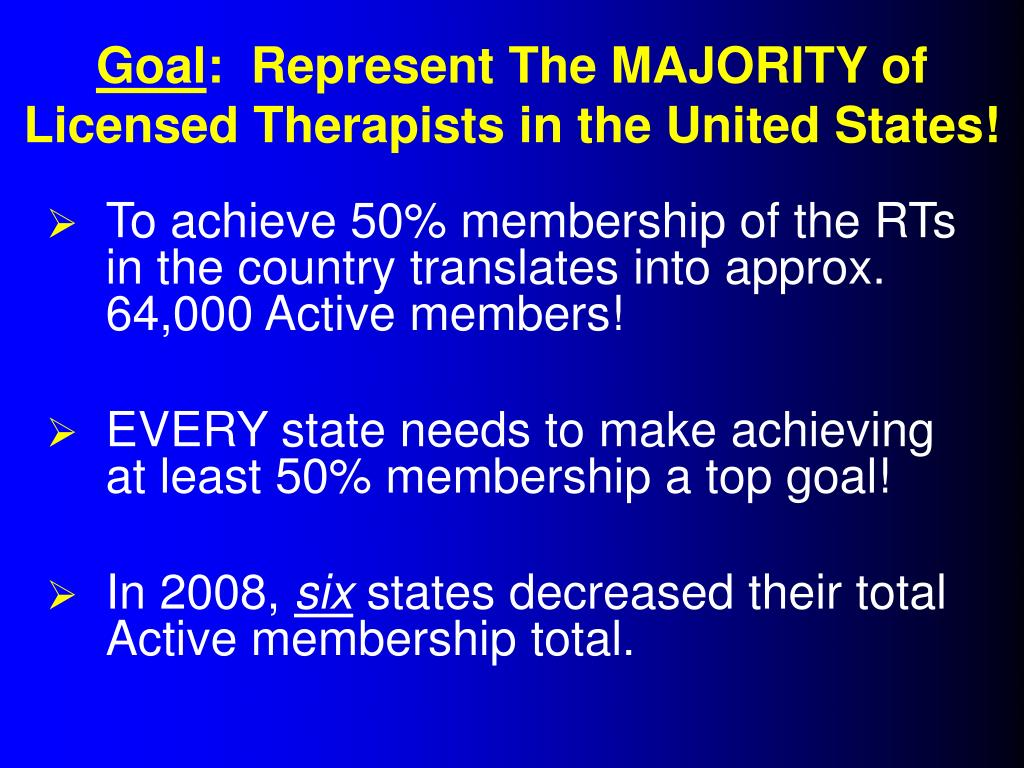 To achieve 50% membership of the RTs in the country translates into approx. 64,000 Active members!
