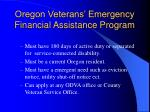 oregon veterans emergency financial assistance program