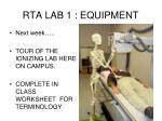 rta lab 1 equipment