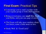 final exam practical tips