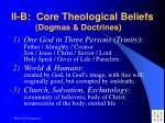 ii b core theological beliefs dogmas doctrines