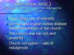 reformation whii 3 what were some of the conflicts that challenged the church in rome