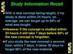 study information recall