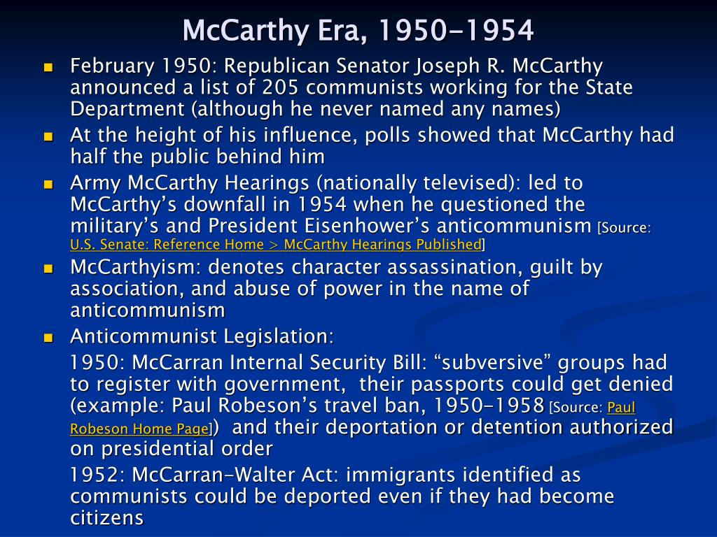 McCarthy Era, 1950-1954