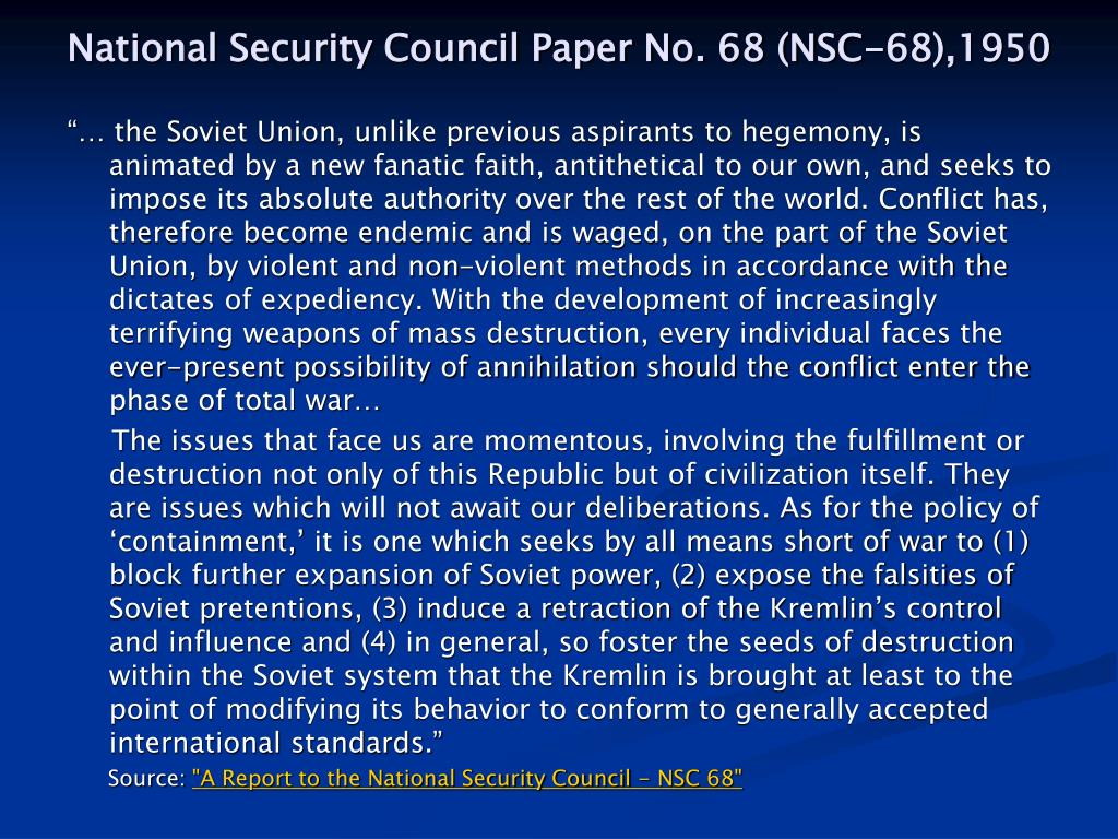 National Security Council Paper No. 68 (NSC-68),1950