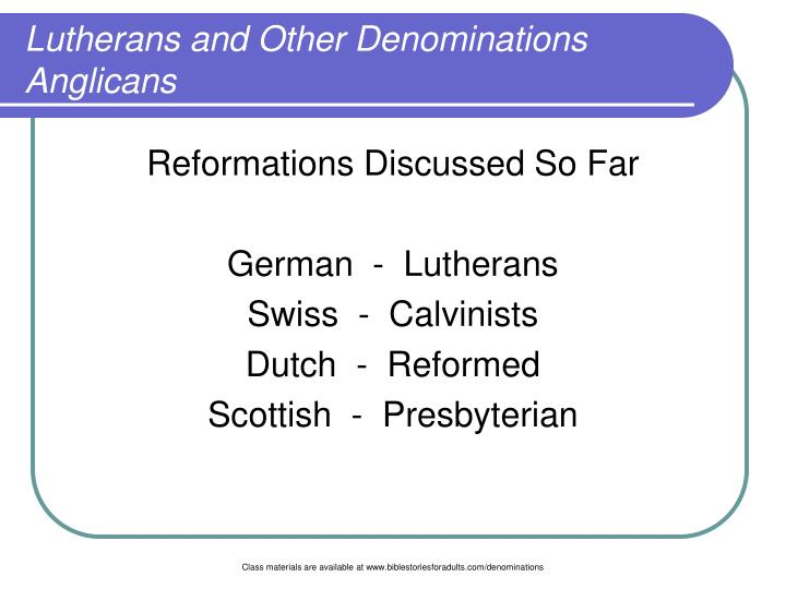 Lutherans and other denominations anglicans