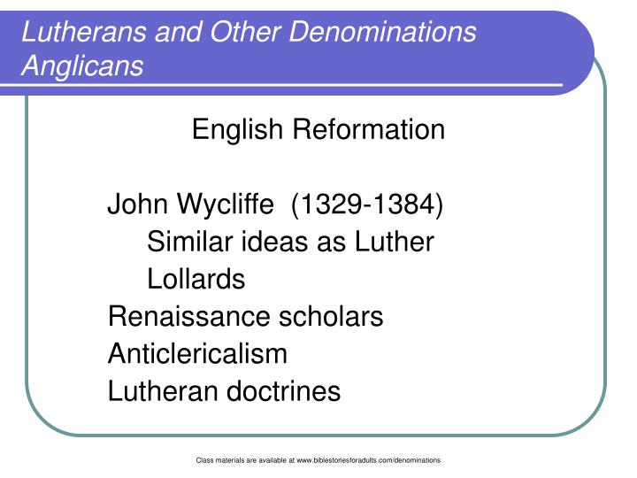 Lutherans and other denominations anglicans3