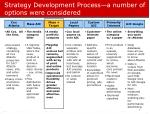 strategy development process a number of options were considered
