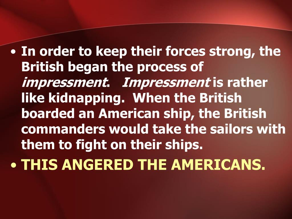 In order to keep their forces strong, the British began the process of