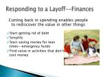 responding to a layoff finances