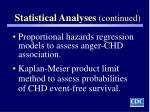 statistical analyses continued