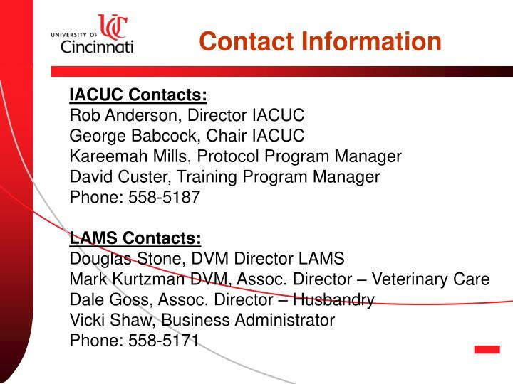 IACUC Contacts: