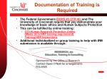 documentation of training is required