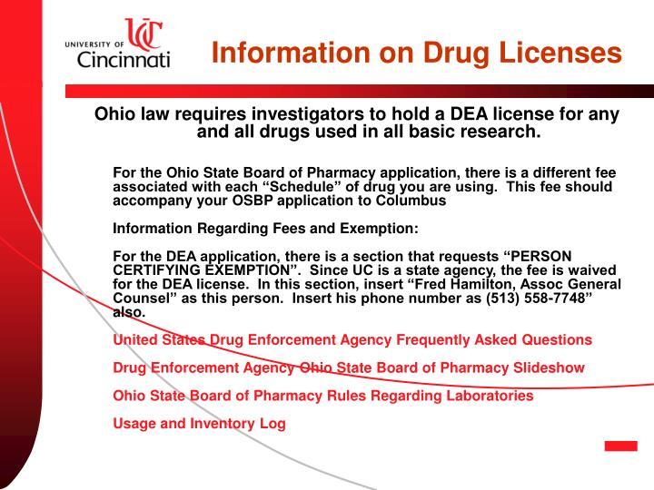 Information on Drug Licenses