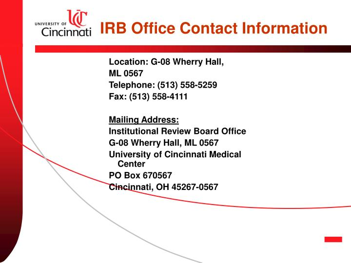 IRB Office Contact Information