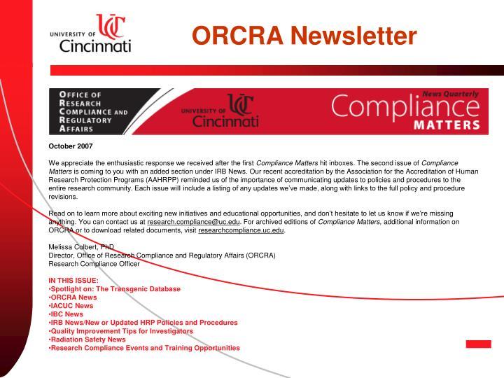 ORCRA Newsletter